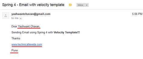 Spring 4 Sending Email With Velocity Template Velocity Template Exle For Email