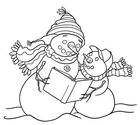 snowman reading coloring page snowman reading a book clipart clipartxtras