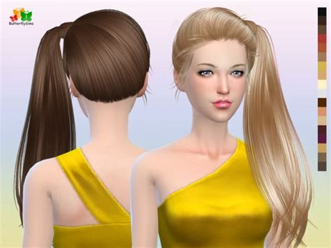 Sims 4 Hairs Butterflysims Side Ponytail Hair 164 | sims 4 hairs butterflysims side ponytail hair 164