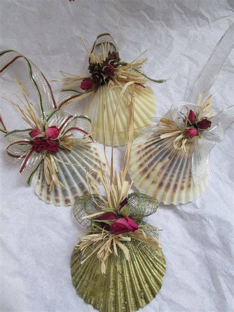 christmas shell ornaments set natural scallop shell christmas