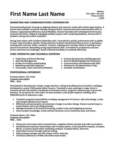 marketing and communications coordinator resume template premium resume sles exle