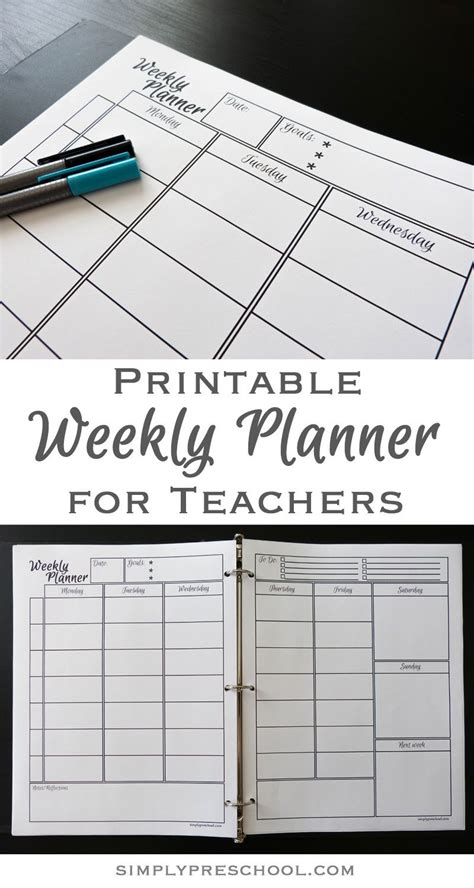 printable teacher lesson planners printable weekly lesson planner simply preschool au