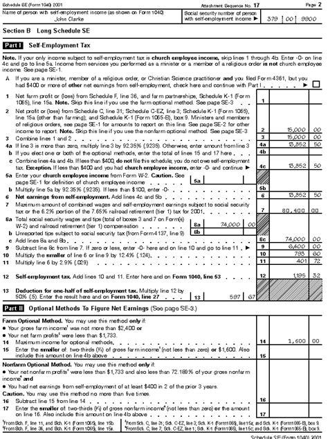 schedule se form 1040 section b part ii publication 533 self employment tax filled in form exles