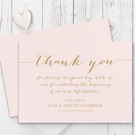 Thank You Card Cover Template by Blush Pink And Gold Modern Wedding Thank You Card
