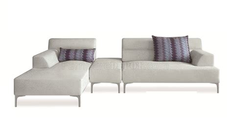 white fabric sectional sofa manhattan 421009 sectional sofa in white fabric by new spec