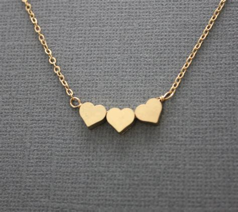 three necklace valentines day gold necklace