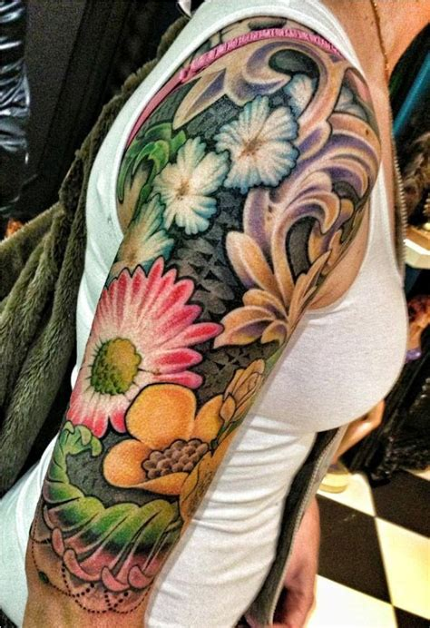 flower tattoo designs arm ideas flower sleeve tattoofanblog