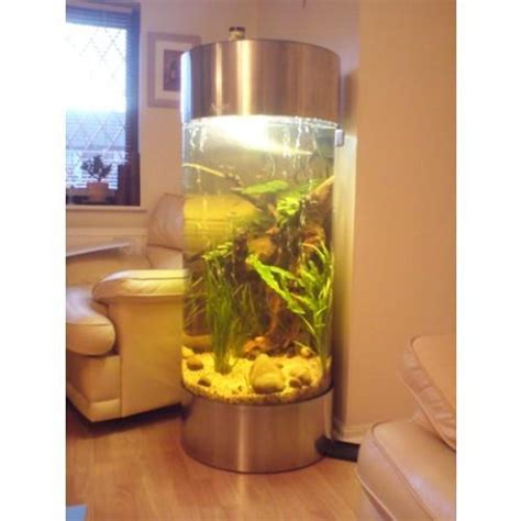 stainless steel acrylic column cylinder aquarium fish tank