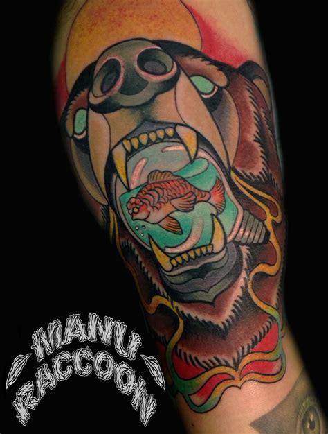 simple neo traditional tattoo neo traditional bear manu raccoon tattoo