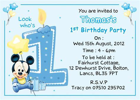 baby mickey mouse invitation template baby mickey 1st birthday invitations eysachsephoto
