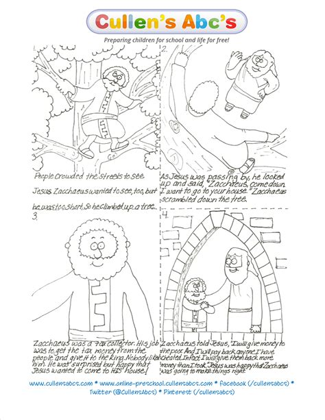 the story of zacchaeus worksheet zacchaeus sequencing preschool and children s by cullen s abc s
