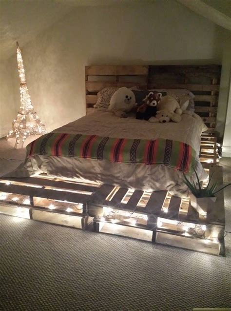 wood pallet bed frame with lights upcycled wood pallet furniture plans pallet wood projects