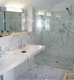 bianco carrara venato marble bathroom design shower tile ideas