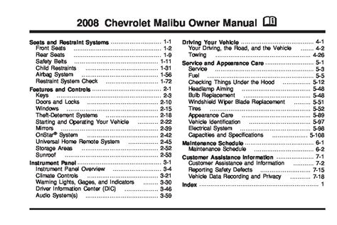 2008 Chevrolet Malibu Owners Manual Just Give Me The