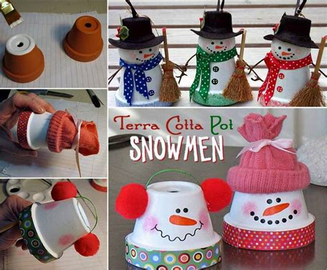 adorable terra cotta pot snowman craft beesdiy com