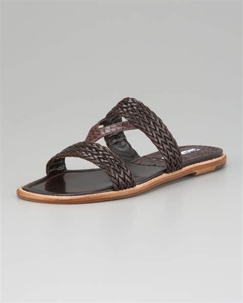 braided sandal lyst manolo blahnik v braided flat sandal in black