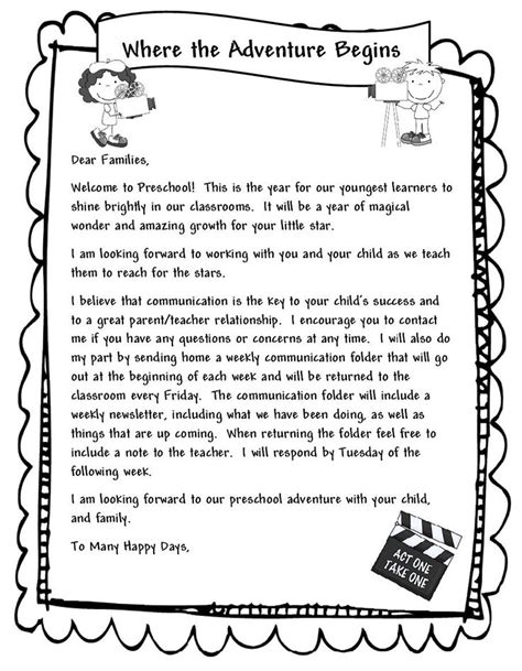 Parent Letter To Kindergarten 1000 Ideas About Preschool Welcome Letter On Kindergarten Welcome Letter Welcome