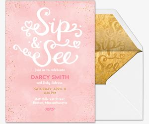 Free Sip And See Invitations Evite Com Sip And See Invitation Templates