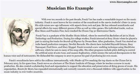 artist mini biography musician bio exle bio exles pinterest