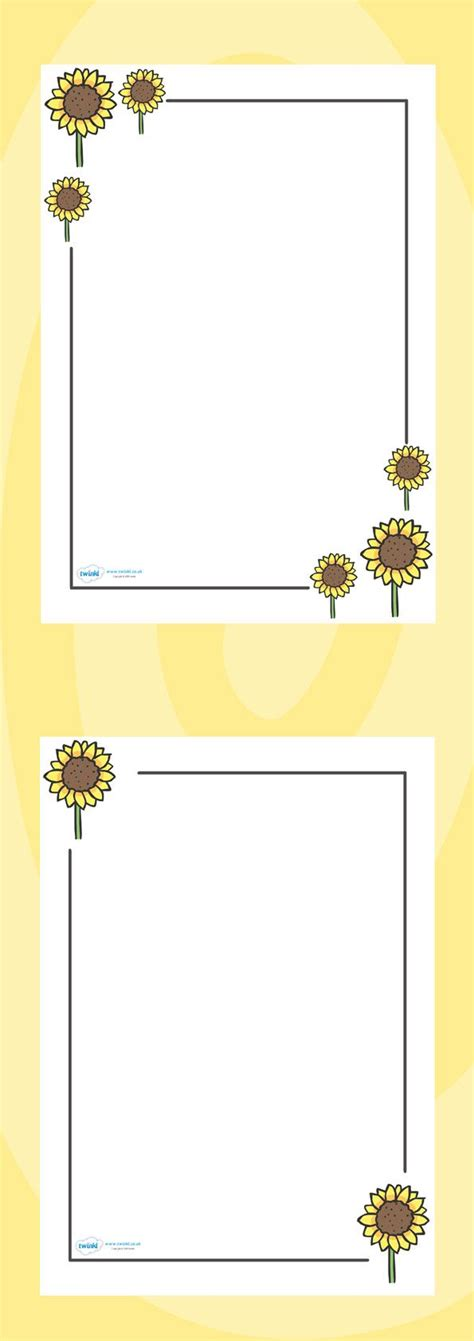 pattern writing for nursery class twinkl resources gt gt sunflower page borders gt gt classroom
