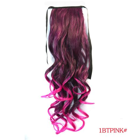 Hairclip Ombre Curlyponytailwig 18 quot curly synthetic hair ombre dip dye two tone style clip in wrap around ponytail extensions