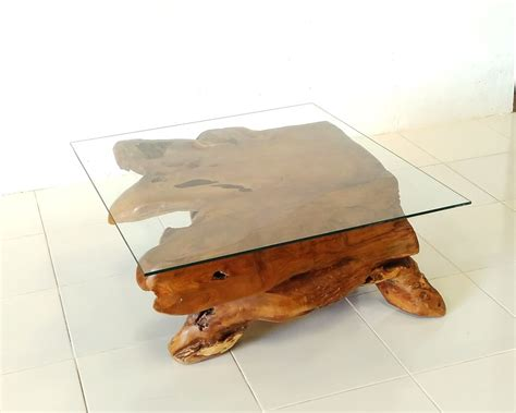 teak root coffee table teak root square glass top coffee table prime liquidations