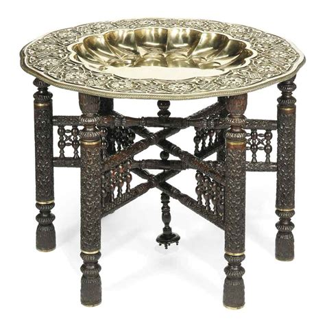 An Indian Embossed Brass Coffee Table Circa 1930