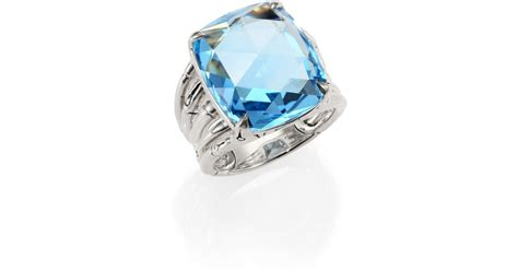 Batu Blue Topaz I231 hardy bamboo sky blue topaz sterling silver octagon five row ring in blue lyst