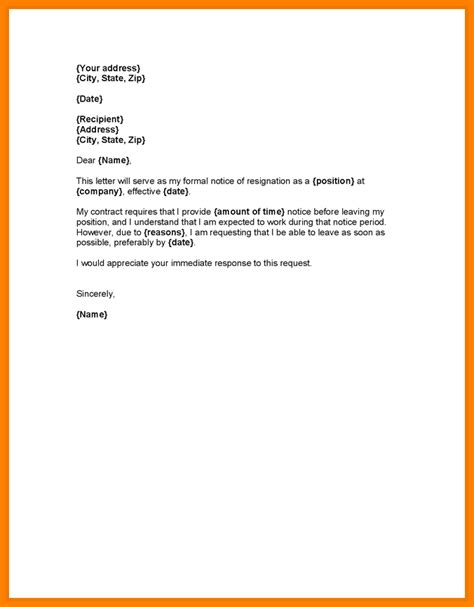 Notice Of Resignation Letter Pdf 9 Professional Resignation Letter Sle With Notice Period Letter Format For