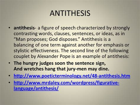 theme definition sentence antithesis antithesis a figure of speech characterized by