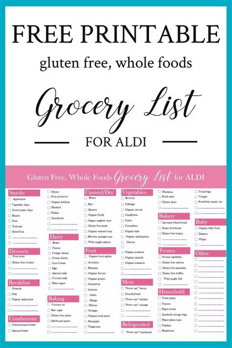 aldi printable shopping list free printable gluten free whole foods grocery list for aldi