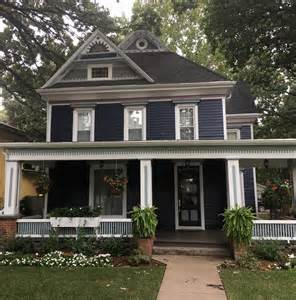 victorian in dark blue historic house colors