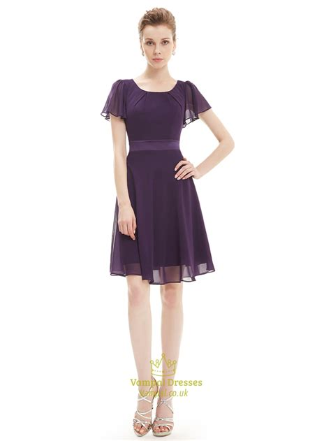 Sleeve A Line Chiffon Dress grape a line scoop neck chiffon bridesmaid dresses