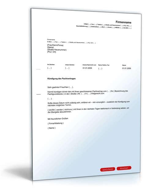 kuendigung pachtvertrag muster zum