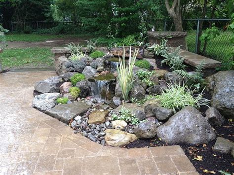 Rock Garden Waterfall Landscape Garden Design Waterfalls Water Feature Patio Sitting Wall With Pillars Lighting