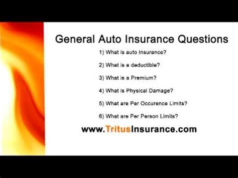 Car Insurance Questions general insurance questions auto