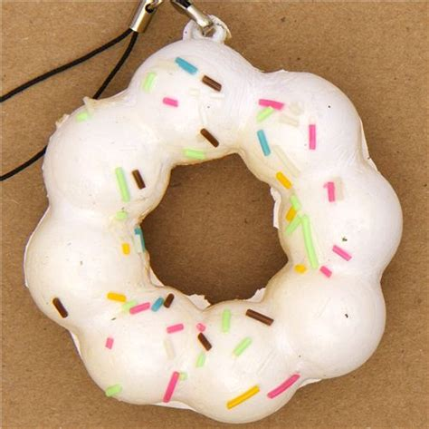 Toys Donuts Whitesugar white flower donut squishy charm with sprinkles food