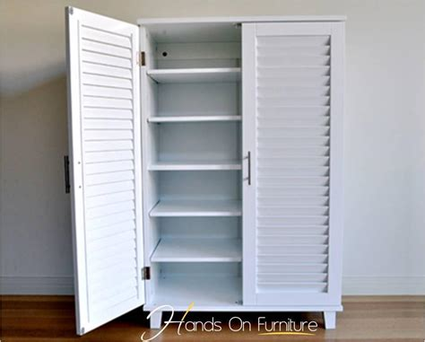 Shoes Cabinets With Doors Brand New White Louvre Door 36 Pairs Shoe Storage Cabinet Rack Cupboard X2 Ebay