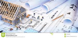 Blueprints Builder by House Under Construction On Blueprints Stock Photo Image