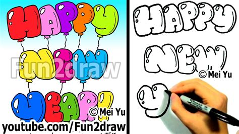 how do you draw a new year how to draw happy new year letters easy things to