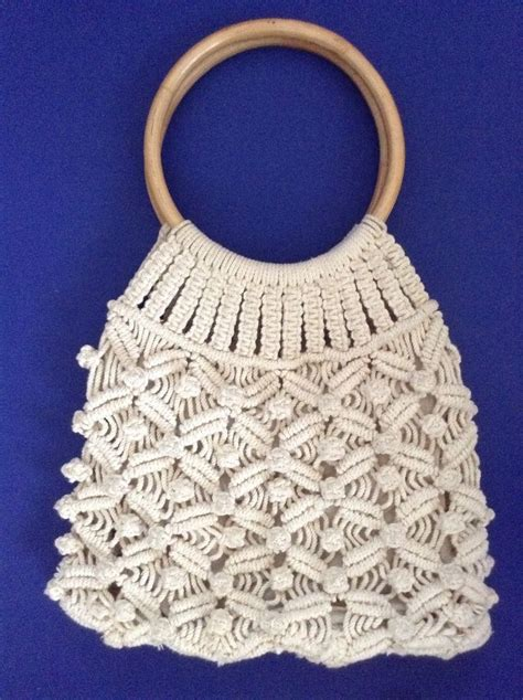 pattern for wood handle purse handmade boho hippie ivory macram 233 crochet purse round