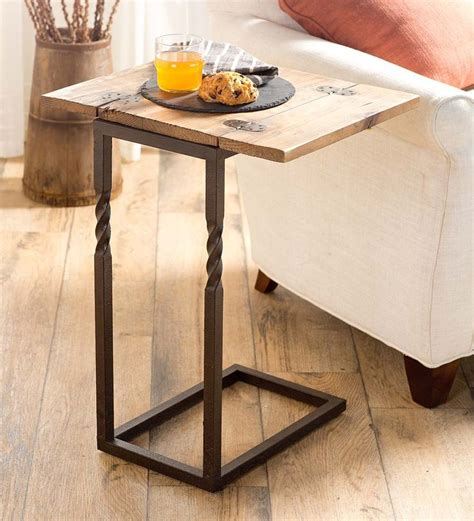 pull up accent table creek pull up table in rustic wood and metal accent