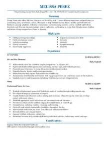 Resume Nanny Sle by Nanny Cv Exle For Personal Services Livecareer
