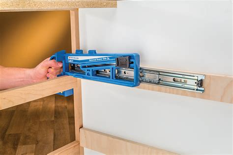 Center Mount Drawer Slide Installation by New Rockler Jig Simplifies Drawer Slide Installations