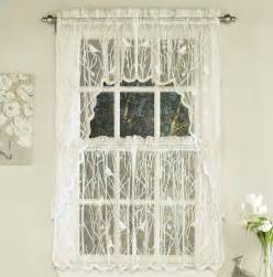 Lace Kitchen Curtains Lorraine Home Songbird Lace Ivory Kitchen Curtain Kitchen Curtains