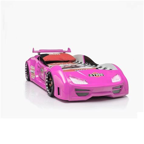 pink car bed gt999 girl s car bed in pink with spoiler and led on wheels