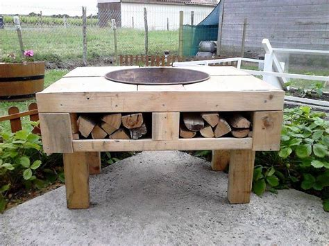 diy firepit table diy pallet pit table with firewood storage 99 pallets