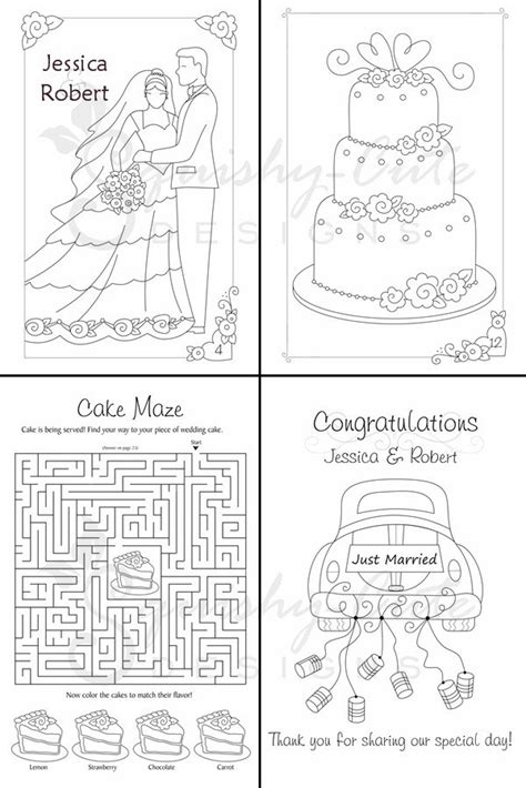 wedding coloring and activity book wedding coloring book kids wedding favors personalized