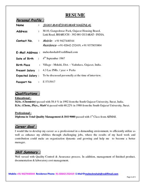 Personal Resume Template by Doc 12401754 Exle Resume Personal Profile Resume