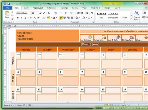 how to make a calendar in word how to make a calendar in word with pictures wikihow